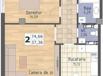 Apartament 1 cameră. Preț total 23 100 euro